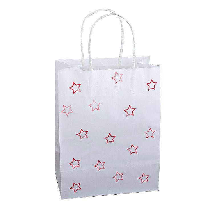 Wholesale Price China Cardboard Earring Box - White Kraft DIY Pattern Shopping Bag with Handle – JD Industrial